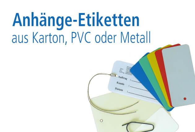 Anhänge-Etiketten aus Karton, PVC oder Metall
